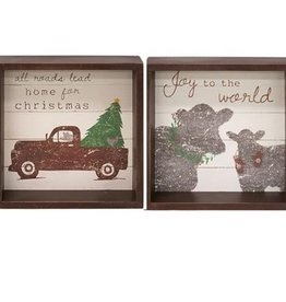 All Roads Lead Home at Christmas Box Sign 7x7