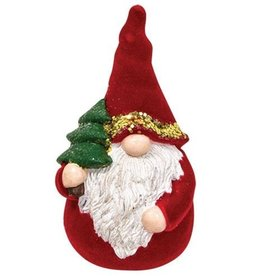 Flocked Resin Santa Gnome Figurine 3.5