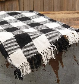 Black and White Checked Runner 62""