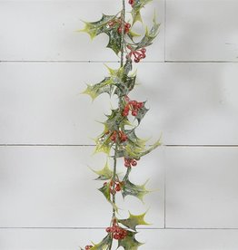 """Frosted Holly Berries Garland 65"""""""