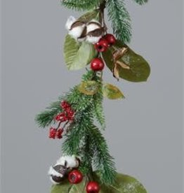 Hypericum Berries and Frosted Evergreens Garland 4ft