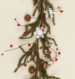 Snowflakes and Rusty Bell Garland 5ft