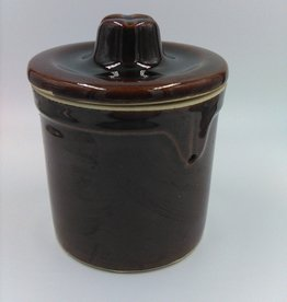 "Vintage Brown Cheese Crock w/lid, 5"" no bale wire"
