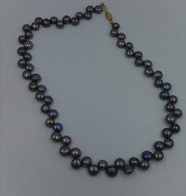 """Freshwater Black Pearl Necklace 17"""" Gold Filled Clasp"""