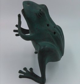 Oxidized Copper Frog Garden Sculpture 5""
