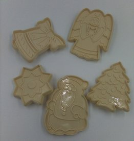Set of 5 Vintage Hutzler Plastic Christmas Cookie Cutters, Set 62, 63 and 68, 1986