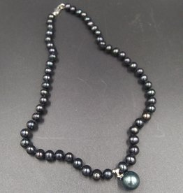 """Freshwater Black Pearl Necklace 16"""""""
