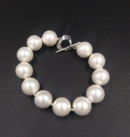 "Genuine Freshwater White Pearl Bracelet w/Heart Clasp 7"""