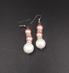 Genuine White and Pink Freshwater Pearl Earrings