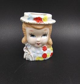 """Wall Pocket Head Vase, Girls Face, C.1945, 3"""""""