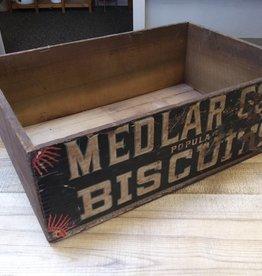 "Vintage Medlar Cos Popular Biscuits Crate, no lid, 21x14 3/8x7"""