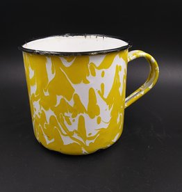 "Vintage Yellow Swirl Enamelware Cup/Mug 3.5"""