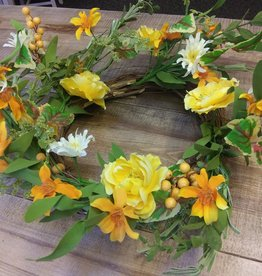 Yellow Floral and Mixed Green Wreath 22""