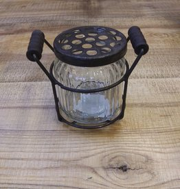 Ribbed Potpourri Jar w/Wire Holder 4""