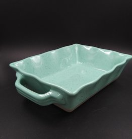 Aqua Scalloped Stoneware Baking Dish 6x8x2.25""