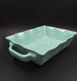"Aqua Scalloped Stoneware Baking Dish 6x8x2.25"""