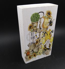 "Bee Kind Gnome Bee Shelf Sitter 2x4x6"""