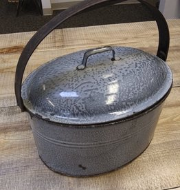 "Vintage Agate Graniteware Lunch Pail 11x8x11"""