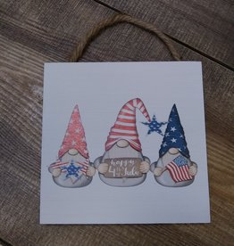 Happy 4th of July Gnome Sign 6x6""