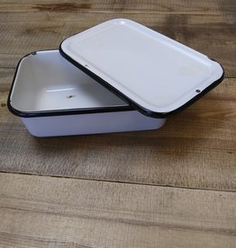 "Enamelware Refrigerator Dish, White with Black Lip,1930's, 10""x6""x3"""