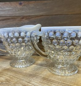 Fenton Vintage Fenton Hobnail White Opalescent Glass Creamer and Sugar / Moonstone 2 pc set