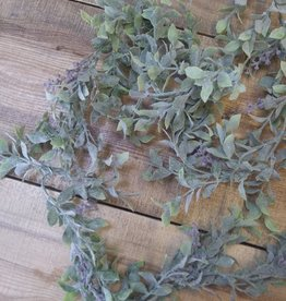 Flocked Vine Garland with Purple Buds 6'