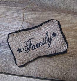 "Burlap Family Pillow Ornament 6"""