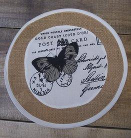 """Round Burlap Butterfly Mat 13"""""""