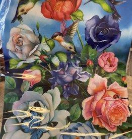 12x18 Garden Flag: Hummingbird, Flowers & Butterflies