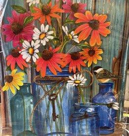 Briarwood Lane 12 x 18 Garden Flag: Mason Jar, Chickadee, Flowers