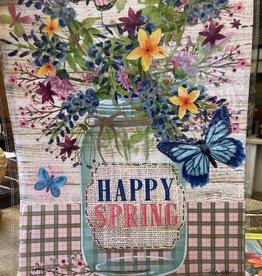 Briarwood Lane 12 x 18 Garden Flag: Happy Spring, Mason Jar, Butterfly, Flowers