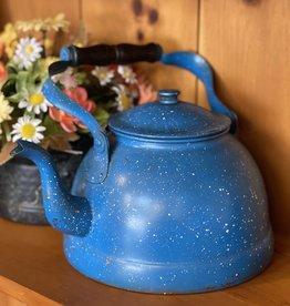 """Vintage Blue Speckled Enamel Tea Kettle 8"""" base"""