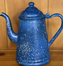 "9"" Vintage Speckled Blue Enamel Coffee / Tea Pot"