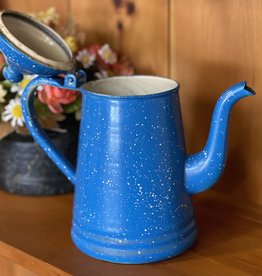 "9"" Vintage Speckled Blue Enamel Tea - Coffee Pot"