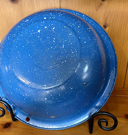 """Vintage, Blue Speckled, Enamel Bowl 11"""" w x 3.5"""" h"""