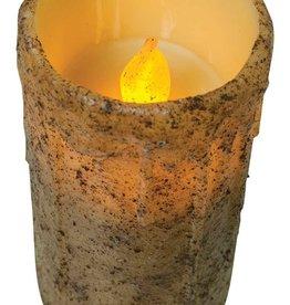 "6"" Burnt Ivory Drip Remote Pillar Candle"