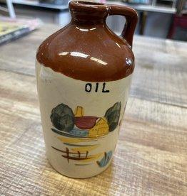 """Antique Hand Painted Ceramic Oil Jug/Decanter 5"""""""