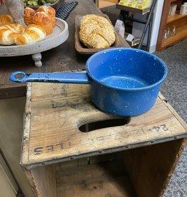 """Vintage Speckled Blue Pot- 6"""" Short Sided"""