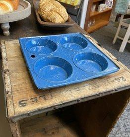 Vintage Blue Speckled Cupcake Pan