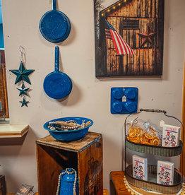 Vintage, Blue Speckled, Enamel Muffin tin