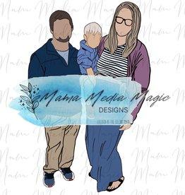 Mama Media Magic Designs Mama Media Magic Simple Faceless Family Cartoon (1-3 People)