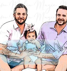 Mama Media Magic Designs Mama Media Magic Family Cartoon (1-3 People)