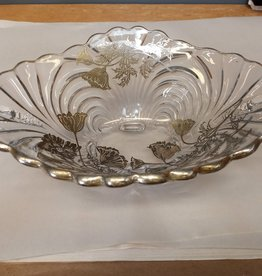Vintage Glass Bowl With Silver Inlay
