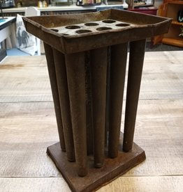 """Antique Tin 12 Stick Wax Candle Mold 10"""""""