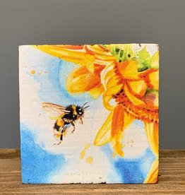 Block Sign Bee Sunflower