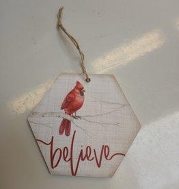 "Believe Cardinal Ornament 4.5x4"""
