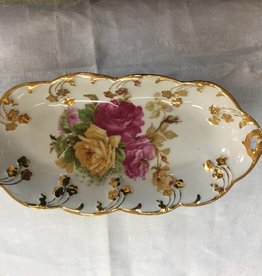 "Large Floral Relish Dish, 12.5"" long, E.1900's"