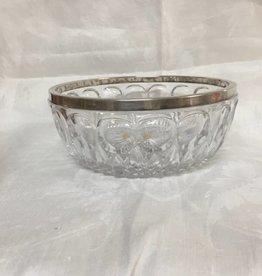 """Lead Crystal Bowl w/Silver Rim, 8.5x3.5"""", c.1950"""