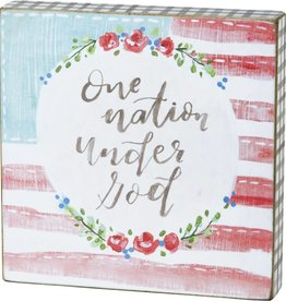 One Nation Under God Block Sign, 6x6""