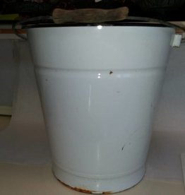 White Enamelware Pail w/Bail Handle, 10 Quart, E.1900's